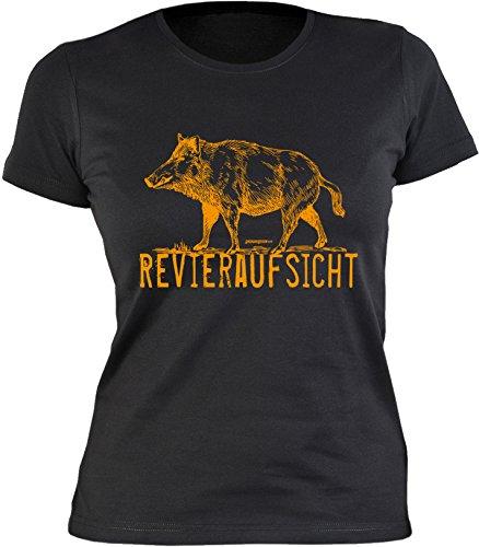 Veri® Revieraufsicht Jägerin T-Shirt Wildschwein Jagd Hobby Geschenke Idee Damen Mädchen Jägerinnen Shirt zur Jägerprüfung Aufdruck Revierjägerin Jungjägerin Gr. L :-