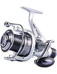 Goture pour pêche à la carpe moulinets double Drag Spinning Moulinet de pêche avec bobine de moulage Far en aluminium et gauche droite interchangeables Poignée