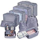 Koffer Organizer Set 9-teilig, kleidertaschen für Kleidung Kosmetik Schuhbeutel Kabel Aufbewahrungstasche, Reisen Organizer Tasche Blau (Grau)