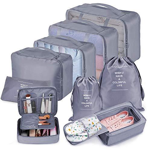 Koffer Organizer Set 9-teilig, kleidertaschen für Kleidung Kosmetik Schuhbeutel Kabel Aufbewahrungstasche, Reisen Organizer Tasche Blau (Grau) -