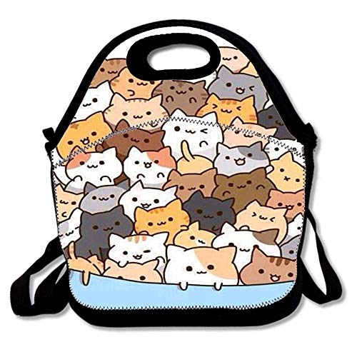 Fgrygf Customize Insulated Super Lunchpaket Tote Reusable Waterproof School Picnic Carrying Gourmet Lunchbox Container Organizer - Cats in A Bowl -