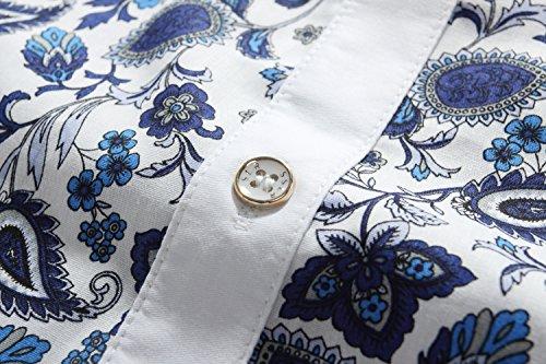 SSLR Herren Blumen Druck Button Down Casual Freizeit Langarm Hemd Weiß Blau