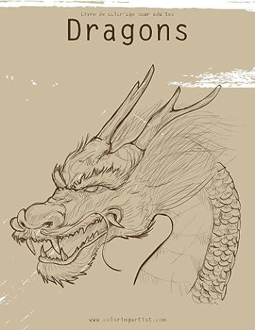 Livre de coloriage pour adultes Dragons 1, 2 &