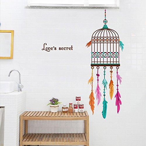 pvc-stickers-muraux-cage-doiseaux-avec-plumes-colorees-pour-decoration-murale