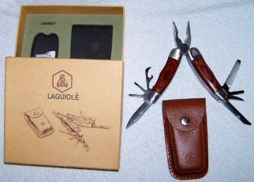 Laguiole Taschenwerkzeug Multi-Tool 9 Funktionen mit Lederholster Messer, Edelstahl, silber