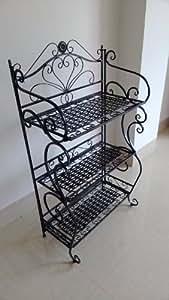 Noir style ancienne meuble 3 étagère rangement salle de bain console en fer forge de rangement Metal
