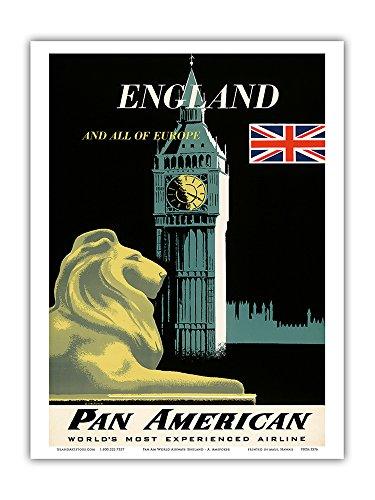 Pacifica Island Art England und Ganz Europa-Pan American Airlines (PAA)-Big Ben und Britische Flagge-Vintage Airline Travel Poster von A. Amspoker c.1950s-Master Kunstdruck 9