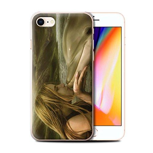 Offiziell Elena Dudina Hülle / Case für Apple iPhone 8 / Goldene Fische Muster / Agua de Vida Kollektion Sonrisas/Delphin