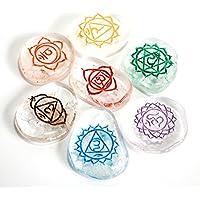 Reiki heilende Energie geladen Bergkristall klar Kristall mit Gravur Mandala Palm Stone Set preisvergleich bei billige-tabletten.eu