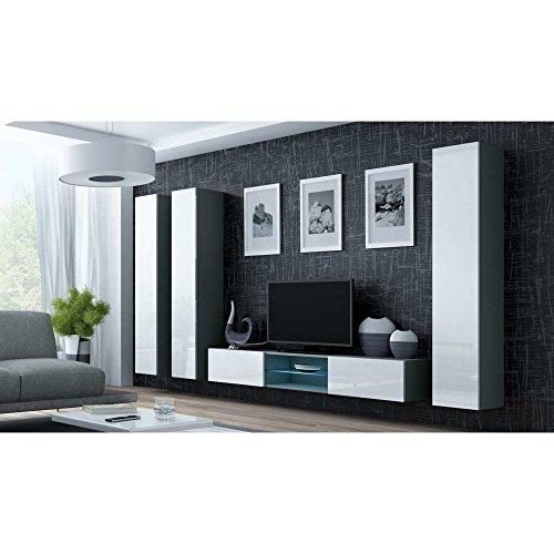 JUSThome Vigo XVIII Wohnwand Anbauwand Schrankwand Grau Matt | Weiß Hochglanz