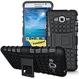 Samsung Galaxy Grand Prime Funda, FoneExpert® Heavy Duty silicona híbrida con soporte Cáscara de Cubierta Protectora de Doble Capa Funda Caso para Samsung Galaxy Grand Prime SM-G530 G530H G530FZ + Protector Pantalla (Negro)