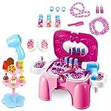 Kinder-Rollenspiele, Teckpeak Kinder Schminkset Schminksachen mit vielen Zubehör Pretend Makeup kit Mädchenkoffer Frisierkoffer