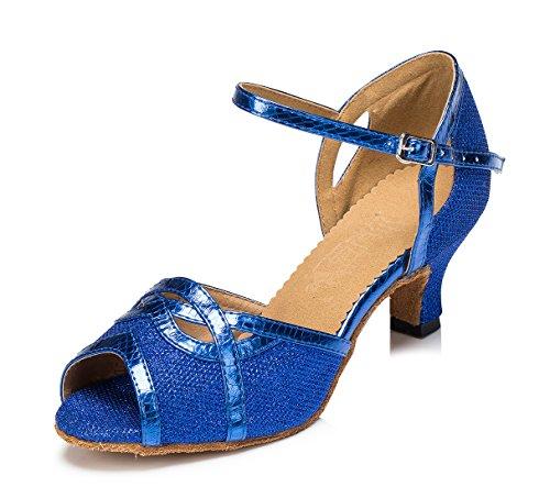 URVIP Neuheiten Frauen's Glitter Leder Heels Absatzschuhe Moderne Latein-Schuhe mit Knöchelriemen Tanzschuhe LD059 Blau 42 CN