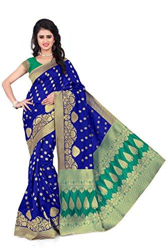 Woman style Woman's Banarasi Silk BlueGreen Sarees with Poly Cotton blouse