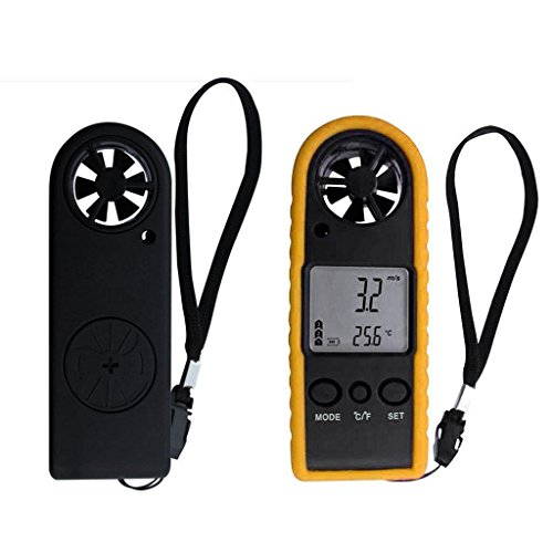 RVSMDA Rot Digital Anemometer Thermometer Air Wind Speed Meter Wetterstation (Wetter Meter Anemometer)