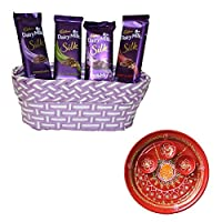 SFU E Com Holi Chocolate Basket Hamper   Holi Special Chocolate Gift   Premium Chocolate Hamper   Holi Pooja Thali   Pack of Chocolate Box-1   232