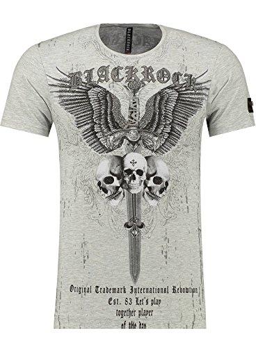 Black Rock Blackrock Herren T-Shirt Slim-Fit Totenkopf Skull Bones Adler Elasthan 71310 - GRAY