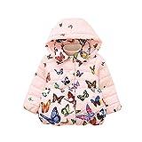 FeiliandaJJ Baby Mantel Mädchen,Kinder Kleidung Toddler Winter Schmetterling Muster Baumwollfutter Mit Kapuze Coat Steppjacke Outerwear Dicke Warme Kleider (100 (12~18Monate), Rosa)