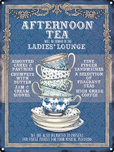 Zinn Lounge (YASMINE HANCOCK Afternoon Tea Ladies Lounge Metall Plaque Zinn Logo Poster Wand Kunst Cafe Club Bar Wohnkultur)