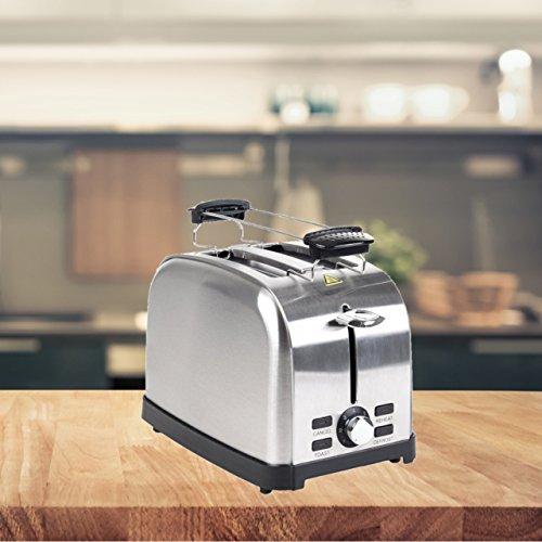 FRX RETRO Toaster 2 Scheiben Toaster Familien-toaster Brotröster toast-maschine (Edelstahl)