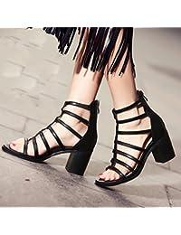 KPHY Roma Sandalias de tacón grueso para mujer, con cremallera en la parte trasera, zapatos de primavera y verano...