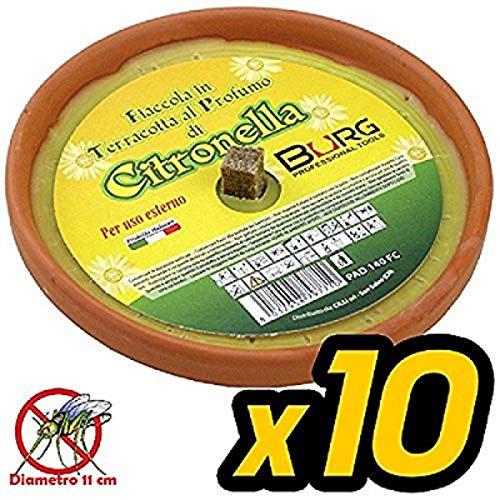 Lgv Confezione Risparmio 10 X Fiaccola Candela Aroma Citronella Cocci in Terracotta Diametro 11cm Antizanzare