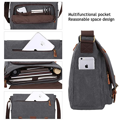 S-ZONE 15 pollici Laptop Messenger Bag Messenger Bag Messenger Bag Borsa da viaggio Crossbody Day Grigio