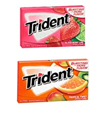 Trident Gum 14 Sticks Chewing Gum Tropical Twist + Strawberry Twist Flavour Imported Chewing Gum - Pack of 2 - Shipping Free