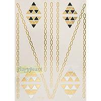 ღ Ys33 Flash Tattoo tatuaje temporal pegatinas etiquetas pulseras de oro joyas de oro etiqueta engomada de la hoja de Metal-metálico del cuerpo
