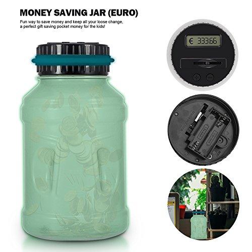 Große Münzen (Digital Piggy Bank Spardose EURO Zähler mit Glow Lichter, AOZBZ Smart Lustige Coin Bank Zählen Geld Box Sparschwein für Kinder und Erwachsene, Groß Geld-Bank Münze Sparen Topf)