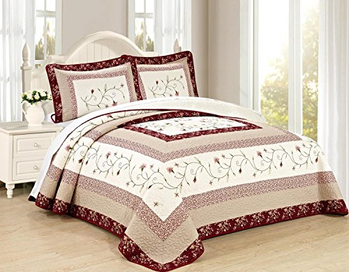 All American Collection New Heißklebestifte Georgien bestickt Tagesdecke/Quilt Set, Polyester-Mischgewebe, Burgundy/ Taupe, Cal King 3pc