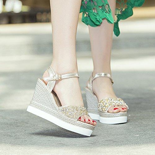 Lgk & fa estate sandali Xia Shushi sandali donne paillettes diamante tacchi tacchi Fish tavola di acqua alta sandali antiscivolo scarpe Golden