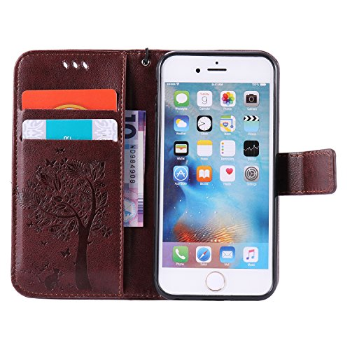 iPhone 6 Hülle, iPhone 6S Ledertasche - Felfy Flip Style Luxe Bookstyle Tasche Case Kasten 3D Reliefdruck Stilvolle Kreismuster Muster Design Muster Premium Tasche Geldbeutel Folio PU Leder Mappen Mag Katze Braun