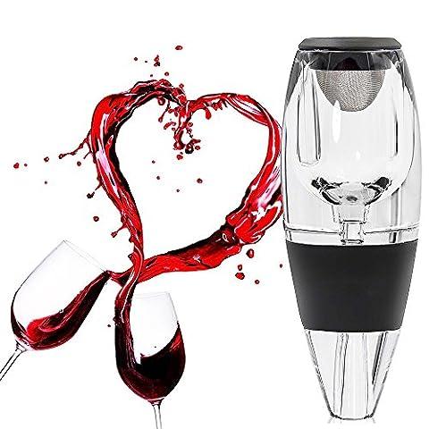 Premium Wein Luftsprudler Dekanter Set – Rot Wein Ausgießer & Diffusor mit Geschenk-Box, Ständer, Samtbeutel