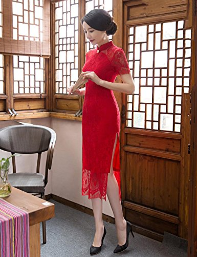 Angcoco Women's Red Double Layered Lace Cheongsam Wedding Bride Dress #0521