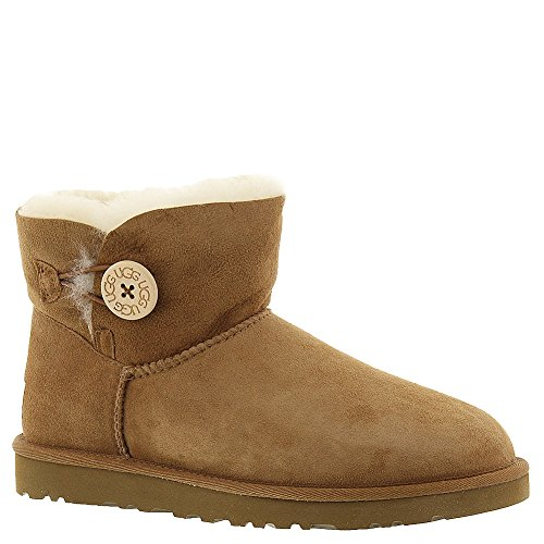 UGG Mini Bailey Button W'S Mini Bailey Button, Boots femme Chataîgne