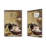 Magnettafel 40x60cm PREMIUM PLUS Glas Memoboard Memotafel Magnetboard Glasdeko Foto - Kaffee Glas Magnettafel Kaffeebohnen Schrift Paris beige - no. 0092