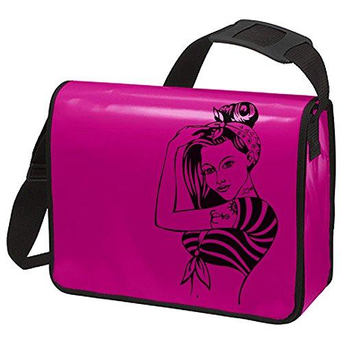 Schultertasche Schultasche Planentasche Umhängetasche Mädchen Rockabilly 60er ta21 8 - ausgewählte Farbe: *Pink - schwarzer Aufdruck* Pink - schwarzer Aufdruck