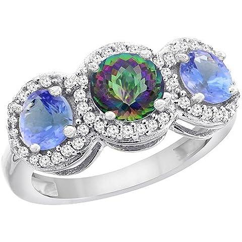 Revoni 9ct amarillo o de oro blanco Natural Mystic Topacio y tanzanita lados redondo 3-Stone anillo diamantes, tamaño