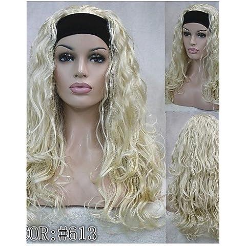 YONG nueva media peluca de la manera 3/4 pelucas largas con opciones de color de la peluca rubia de pelo rizado de la venda sintética! 4colors! , 24b