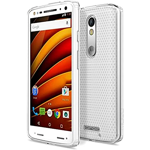Motorola X Force Case - MoKo [Anti Drop] Halo Series Hybrid Cover with TPU + Clear PC Back Panel Bumper Case for Moto X Force 5.4 Inch 2015 Smartphone, Crystal