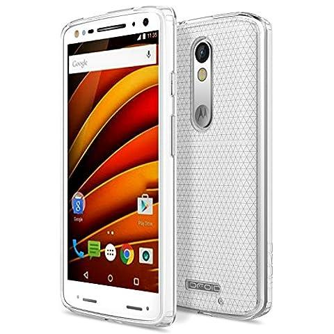 Motorola X Force Coque - [Anti chute & rayure] Etui Housse Series Halo Hybride avec Pare-Chocs de Clair TPU + PC pour Motorola Moto X Force 5.5 Pouces 2015 Smartphone, CRISTAL CLAIR