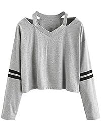 01213890222c Blusen Damen T Shirts Elegant Langarm T-Shirt Oberteile Frauen Hohl Stripe  Hemdbluse Top Langarmshirt