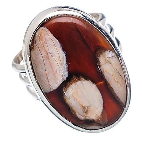 Peanut Wood Jasper, Erdnussholz Jaspis 925 Sterling Silber Ring 6.75