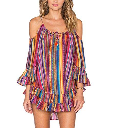 Rcool Frauen Rainbow gedruckt mit Fransen Kleid locker Chiffon Strap Dress ONeck Strandrock (Handschuhe Mit Satin Fransen)