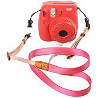 Woodmin Instax Cinghia Della Fotocamera per Fujifilm Instax Mini 25/50/7/8/90 Camera (Rosa) - Rosa Magnete Nastro Rosa