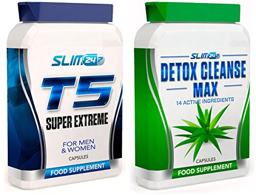 T5 FAT BURNERS x60 + DETOX CLEANSE x60 – T5 Super Extreme Max Strength Thermogenic F...