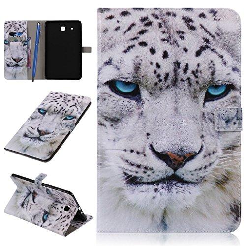CareyNoce Galaxy Tab E 9.6 Hülle, PU Leder Abdeckung Stand Flip Schutzhülle Hülle - mit Automatischem Schlaf Funktion Und Wach Funktion für Samsung Galaxy Tab E SM-T560/ SM-T561 (9.6 Zoll) + Displayschutz + Eingabestift Pen + Stöpsel Staubschutz -- Weiße Tiger (Samsung-tablets Fällen)