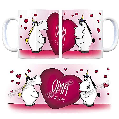 trendaffe - Einhorn Kaffeebecher mit Herz Motiv und Spruch: Oma Tasse Kaffeetasse Büro