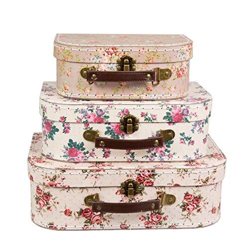 3-er Set Vintage Rose Koffer Lagerkästen